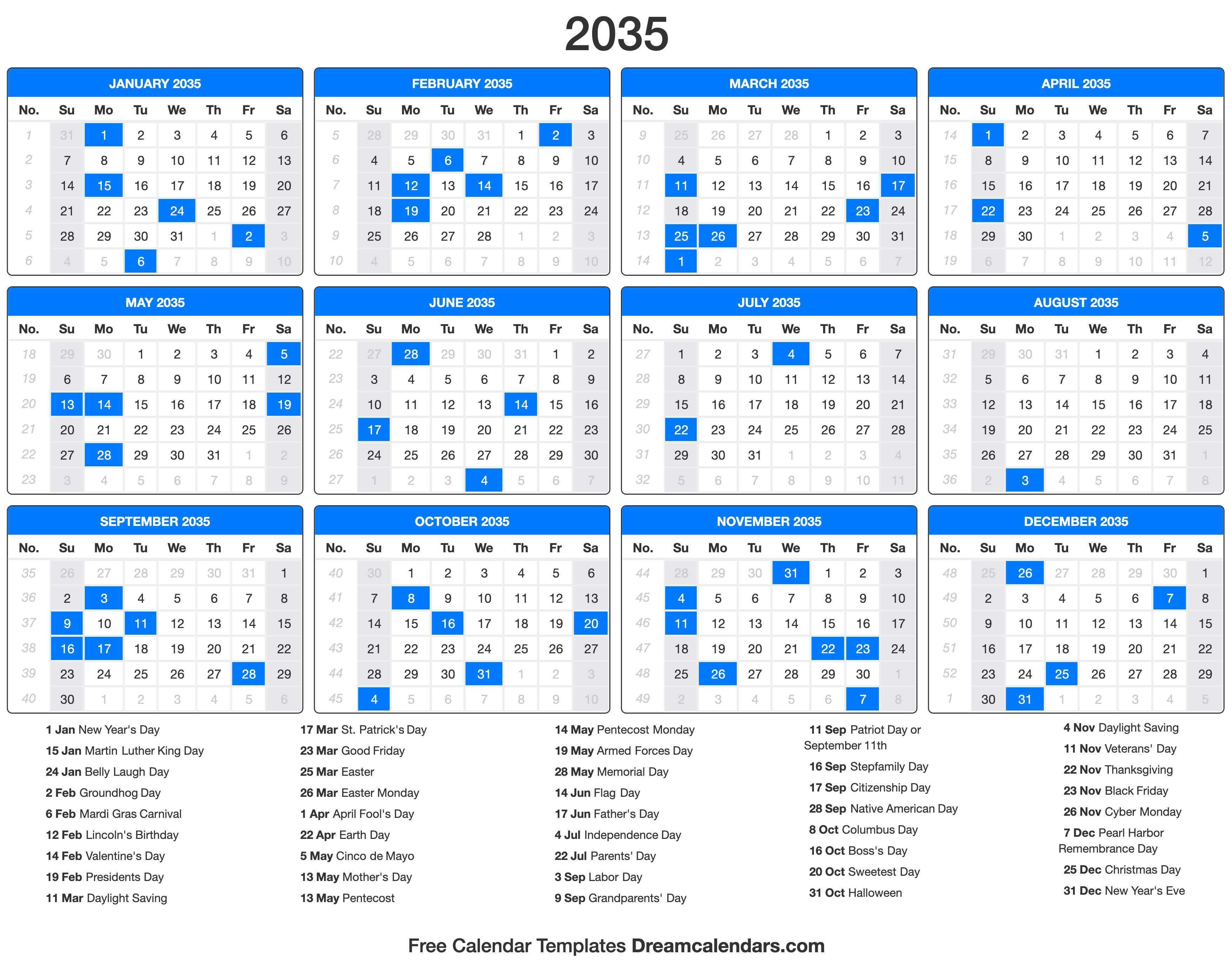 2035 Calendar with holidays
