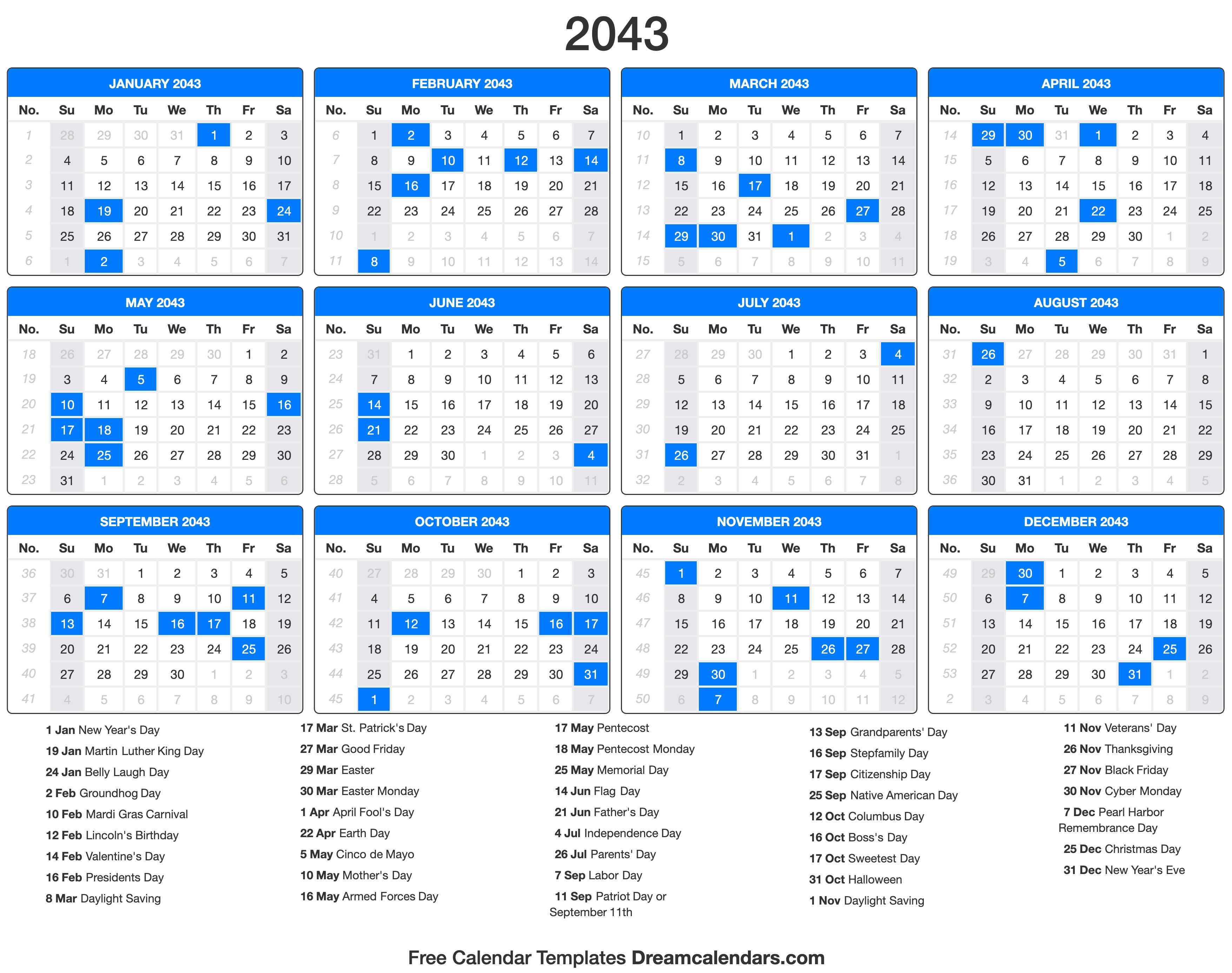 2043 Calendar with holidays