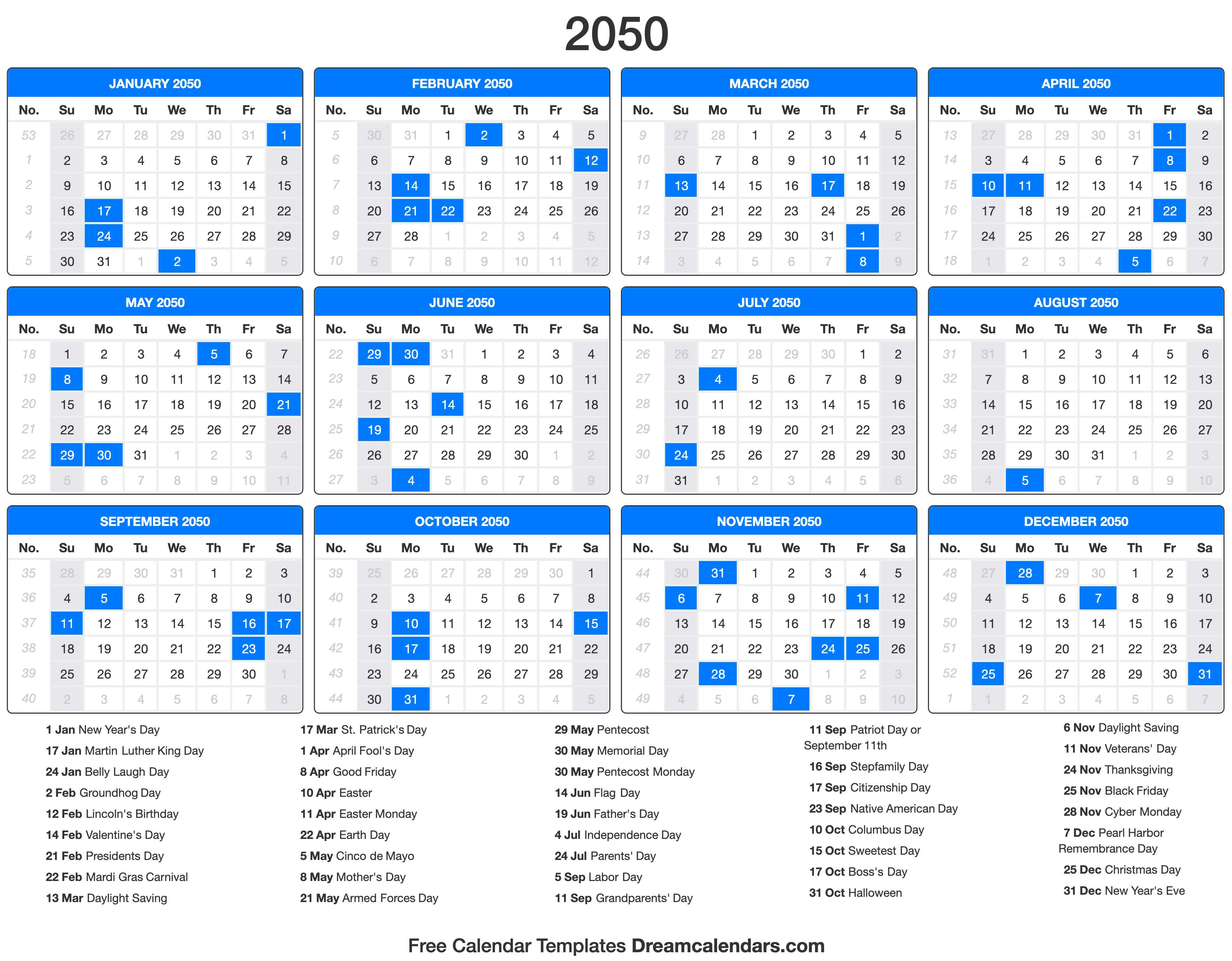 2050 Calendar with holidays