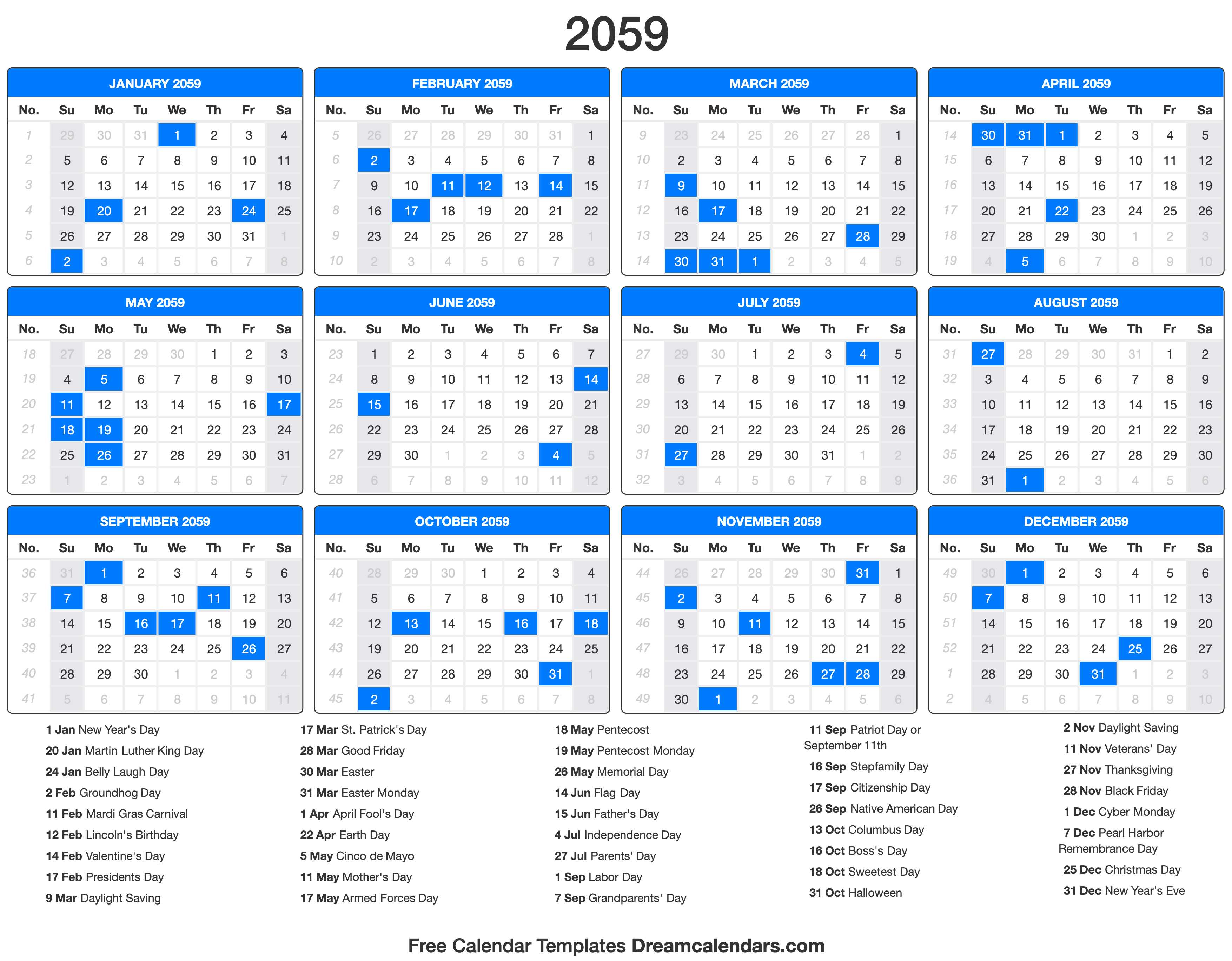 2059 Calendar with holidays