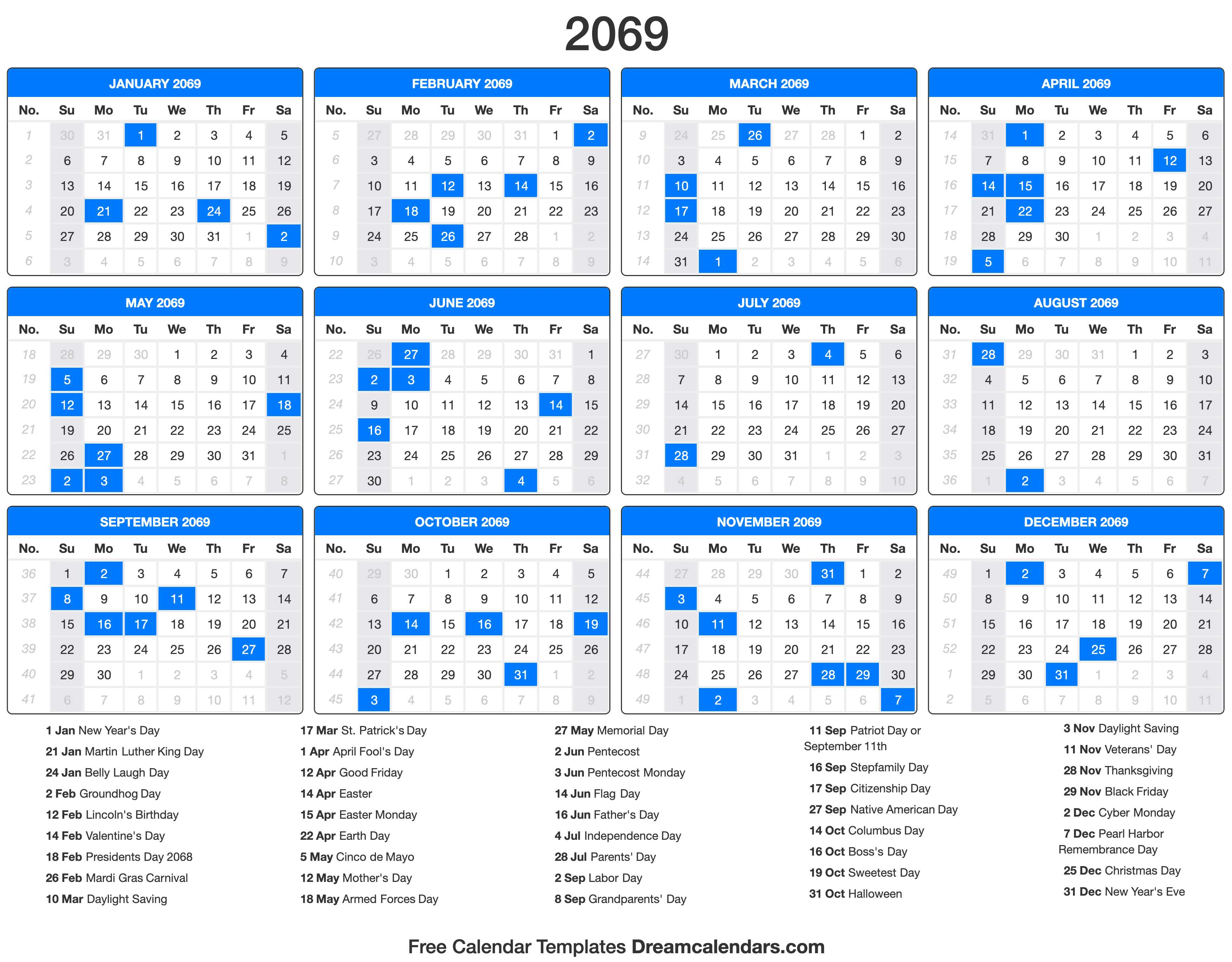 2069 Calendar with holidays
