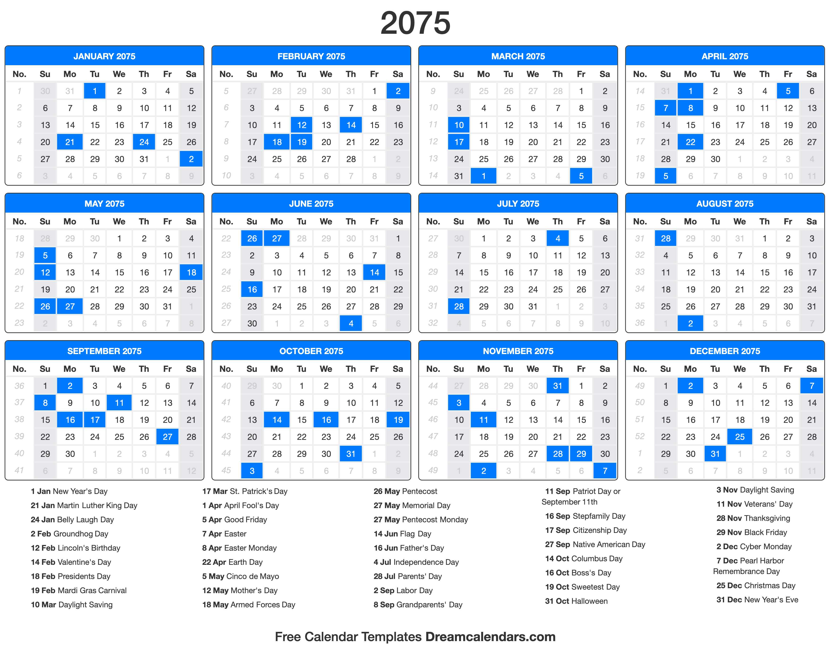 2075 Calendar with holidays
