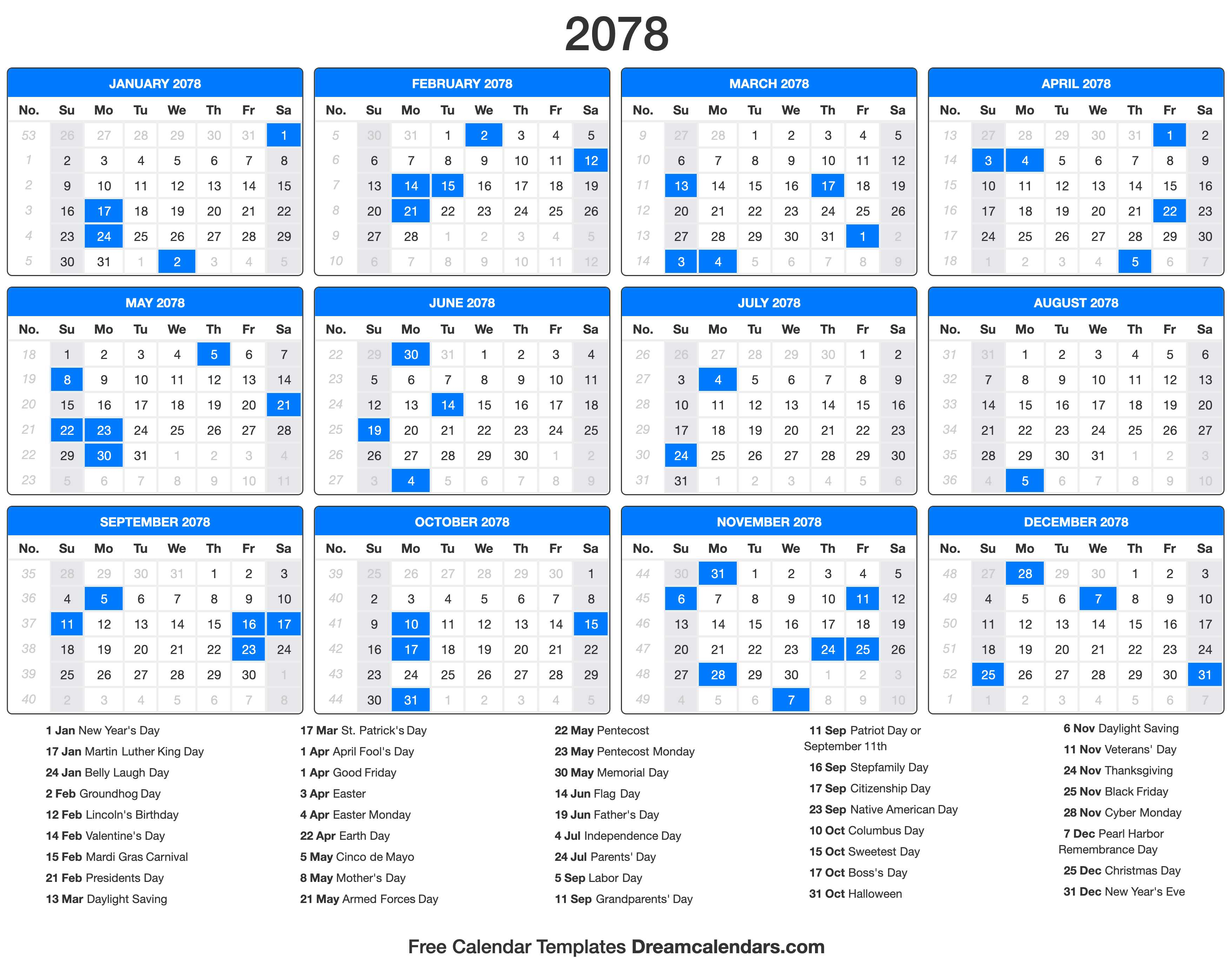 2078 Calendar with holidays