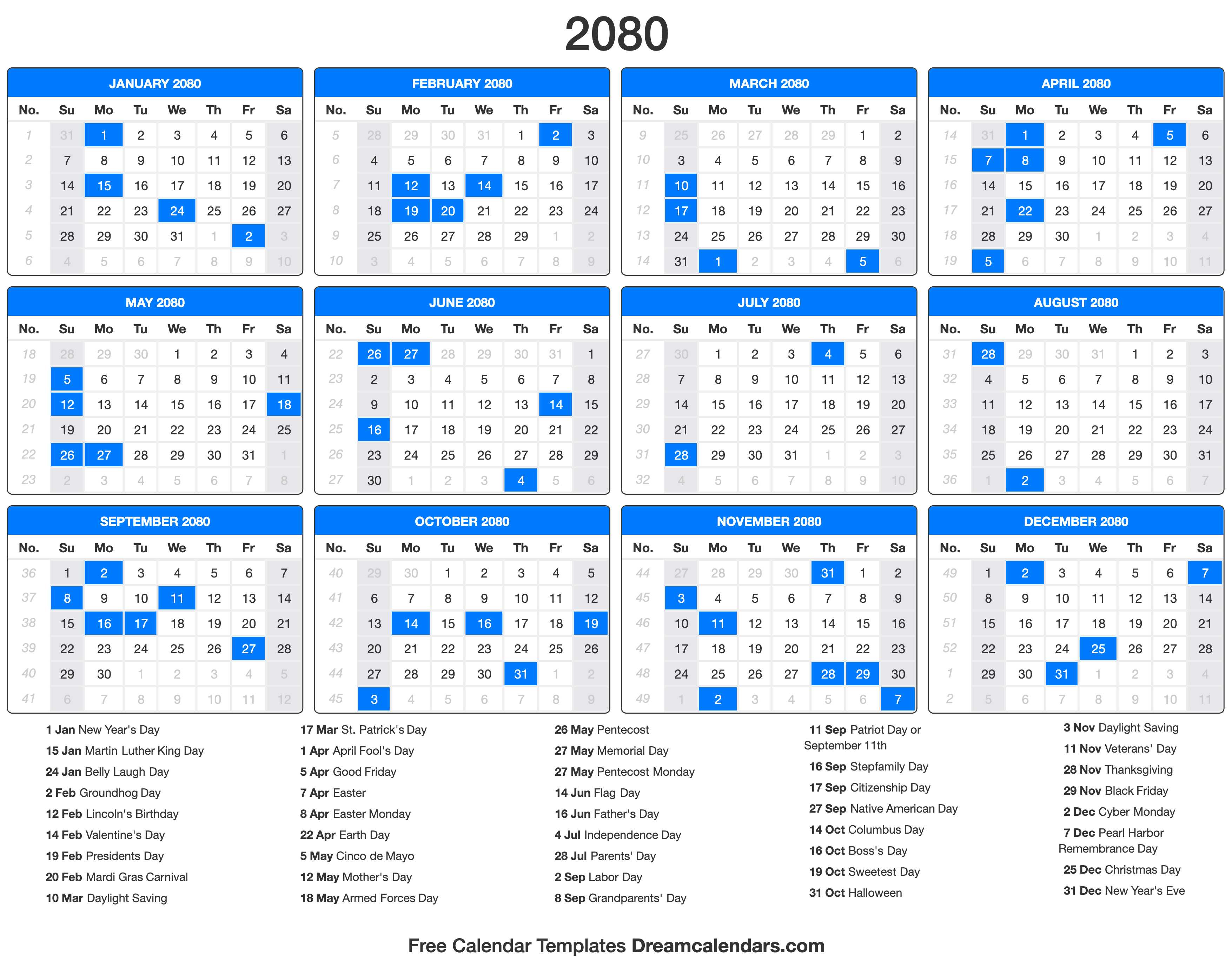 2080 Calendar with holidays